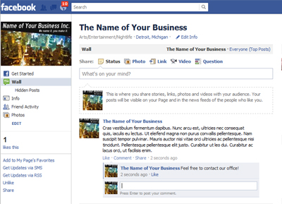 An example of a business page